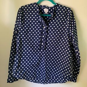 I.Crew polka dot blouse